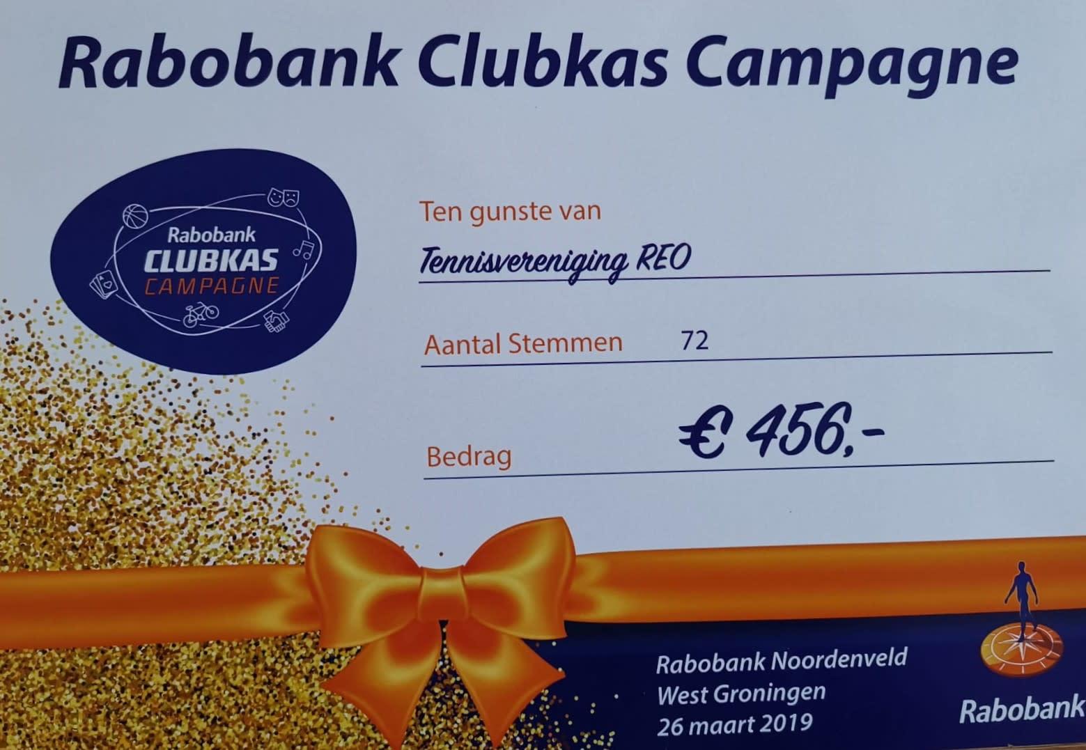 Rabo Clubkas cheque